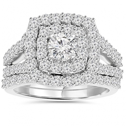 2.00CT Diamond Cushion Halo Engagement Wedding Ring Set White Gold