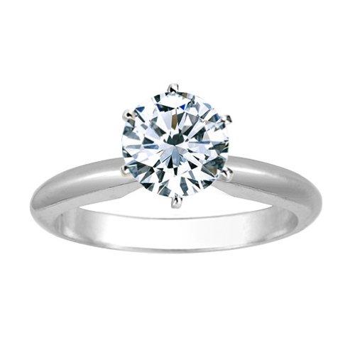 1 1/2 Carat Round Cut Diamond Solitaire Engagement Ring Platinum 6 Prong (J, SI2-I1, 1.5 c.t.w) Idea