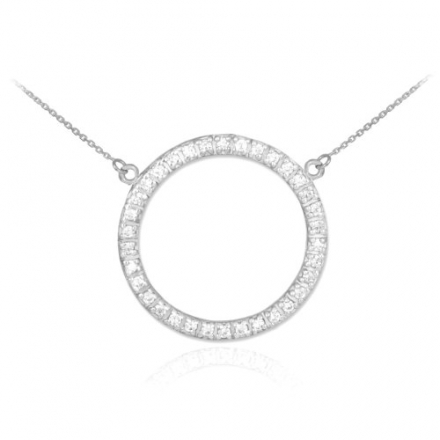 14k White Gold Diamond Eternity Circle of Life Necklace