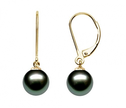 14k Yellow Gold AAA Quality Black Tahitian Cultured Pearl Leverback Dangle Earrings