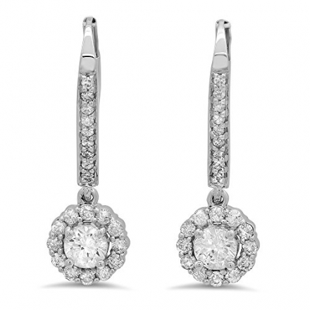 0.95 Carat (ctw) 14K White Gold Round White Diamond Ladies Halo Style Dangling Drop Earrings 1 CT