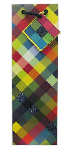 Jillson Roberts Bulk Wine and Bottle Gift Bags, Prismatic Plaid, 120-Count (BBT319)