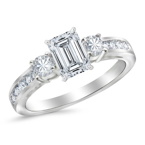 GIA Certified 1.30 Carat Emerald Cut/Shape 14K White Gold 3 Stone Channel Set Diamond Engagement Rin