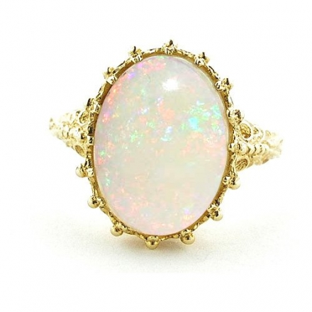 18K Yellow Gold Ladies AAA Large colorful Opal Ring- Finger Sizes 5 to 12 Available