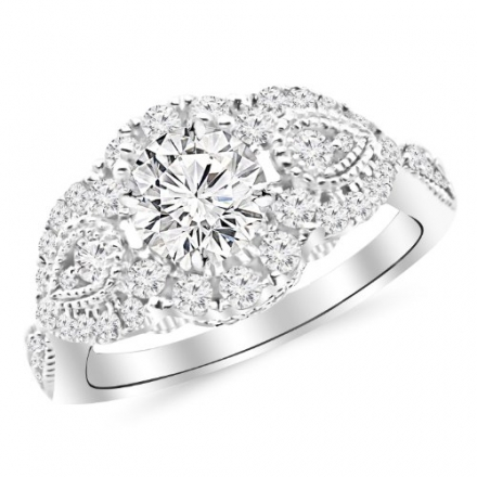1.41 Carat Designer Halo Milgrain Diamond Engagement Ring with a 0.63 Carat D-E VS2-SI1 Center