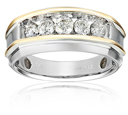 Men's 14k Two-Tone Gold Polished Finish Diamond Ring (1 cttw, H-I Color, I1-I2 Clarity)