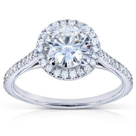 Round-cut Moissanite and Diamond Engagement Ring 1 1/4 Carat (ctw) in 14k White Gold (6.5mm)