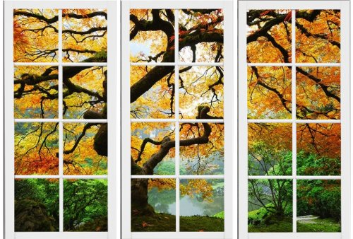 Maple At Window Canvas Wall Art, 5 Stars Gift Startonight Set of 3 Total 31.5 X 47.2 Inch