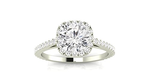 1.05 Carat 14K White Gold Gorgeous Classic Cushion Halo Style Round Cut Diamond Engagement Ring (I C