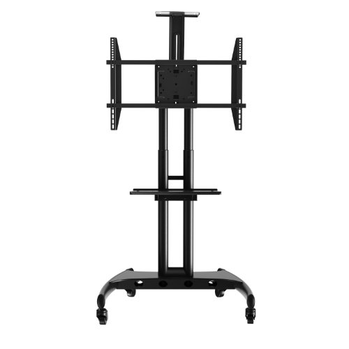 Rocelco STC Adjustable Height Mobile TV Stand,  for 32-70 Inch Flat Screen TVs, with AV Shelf – Blac