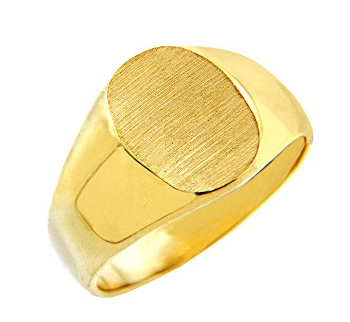 Solid 14k Yellow Gold Engravable Brushed Satin Oval Top Signet Ring for Men