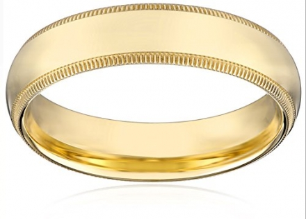 Men's 4mm 10k Yellow Gold Comfort Fit Plain Wedding Band with Milgrain