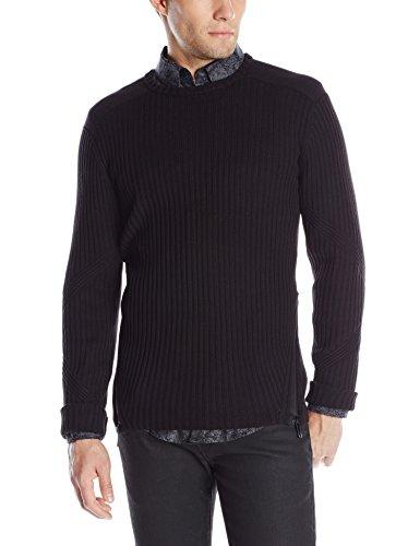 Calvin Klein Men's Cotton Acrylic Engineered Rib Zipper Crew Neck Sweater