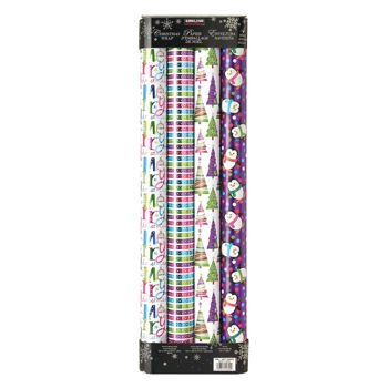 4 Pack Wrapping Paper, 180 Sq Ft, with 4 ct. Scotch Magic Tape, Brights & Whites