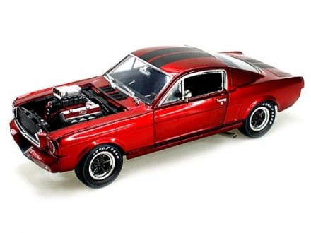 1965 Ford Shelby Mustang GT350R With Racing Engine Metallic Red with Black Stripes 1/18 by Shelby Co