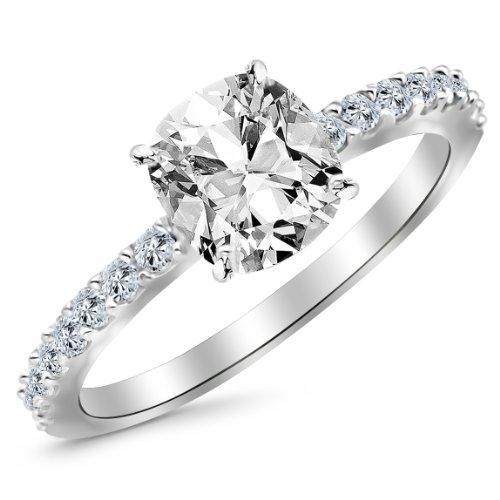 1 Carat 14K White Gold Classic Side Stone Pave Set Cushion Cut Diamond Engagement Ring (F Color VS2