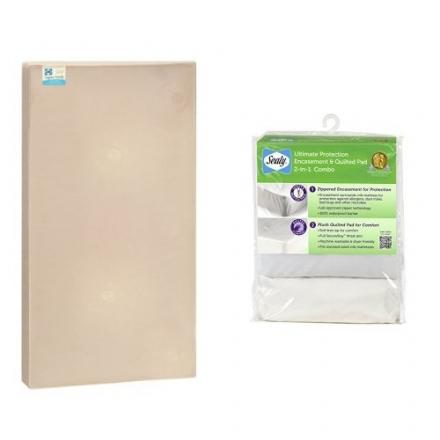 Sealy Soybean Organic Crib Mattress and Ultimate Protection Crib Mattress Encasement/Pad Combo Pack