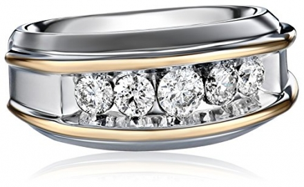 Men's 10k Two-Tone Gold Polished Finish Diamond Ring (1 cttw, H-I Color, I1-I2 Clarity)