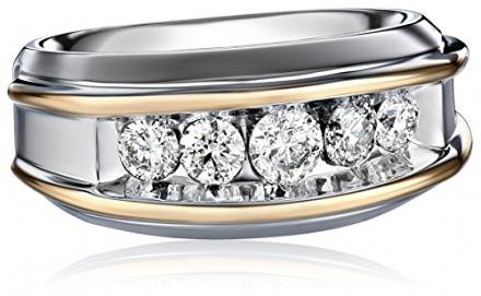 Men's 10k Two-Tone Gold Polished Finish Diamond Ring (1 cttw, H-I Color, I1-I2 Clarity)