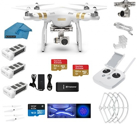 DJI Phantom 3 Professional (Pro) 4K Video Camera EVERYTHING YOU NEED Kit + 2 DJI Extra Batteries + P