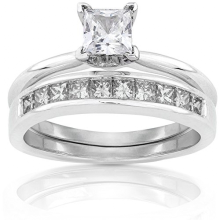 Princess Diamond Bridal Set 1 Carat (ctw) in 14k White Gold