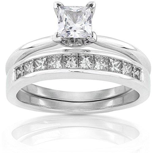 Princess Diamond Bridal Set 1 Carat (ctw) in 14k White Gold