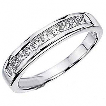 0.75 Carat (ctw) 14k White Gold Princess Diamond Ladies Anniversary Wedding Stackable Ring Band 3/4