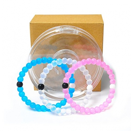 Benran Silicone Bangle Mud From Dead Sea Water From Mt Everest (White+Pink+Blue, Small)