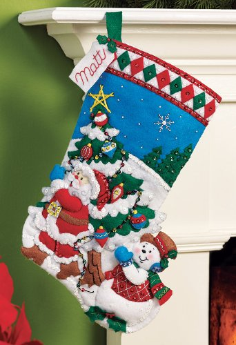 Bucilla Felt Applique Christmas Stocking Kit: Pick a Tree