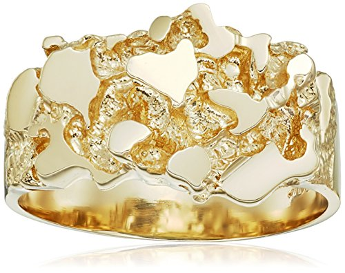 Men's 14k Solid Yellow Gold Nugget Textured Ring