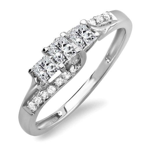 0.48 Carat (ctw) 14k Gold Princess & Round Diamond Ladies Bridal 3 Stone Swirl Engagement Ring 1/2 C