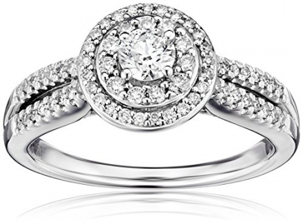 14k White Gold Round Cut Centre Stone Diamond Bridal Engagement Ring (3/4cttw, I-J Color, I1-I2 Clar