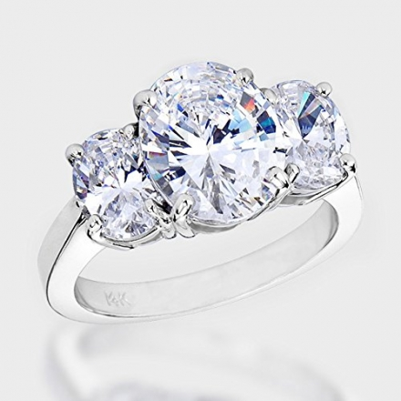 1 1/2 Carat 3 Stone Oval Cut GIA Certified Diamond Engagement Ring (D-E Color VS1-VS2 Clarity)