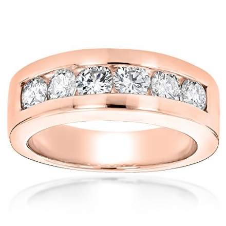 Luxurman 14k Gold Round Diamond Mens Wedding Band (1.5 cttw, H Color, SI Clarity)