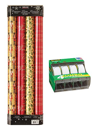 4 Pack Wrapping Paper, 180 Sq Ft, with 4 ct. Scotch Magic Tape, Reds & Golds