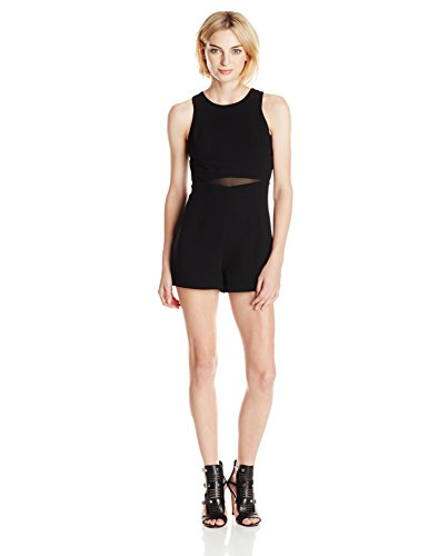 BCBGeneration Women's High Neck Romper with Mesh Inserts