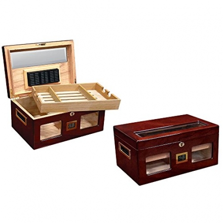 Prestige Import Group 120 Ct. Lacquer Humidor w/ Beveled Glass & Ext. Digital Hygro