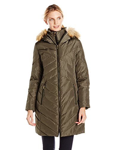 Jones New York Women's Down Coat with Faux Fur-Trimmed Hood