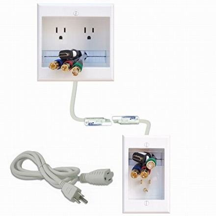 PowerBridge TWO-CK Dual Outlet Recessed In-Wall Cable Management System with PowerConnect for Wall-M