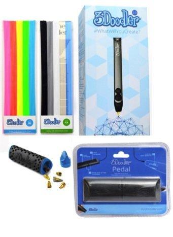 3doodler 2.0 Bundle w/ Printing Pen Pedal SET and Nozzle Set: 3doodler 2.0 3d Printing Pen + 50 Stra