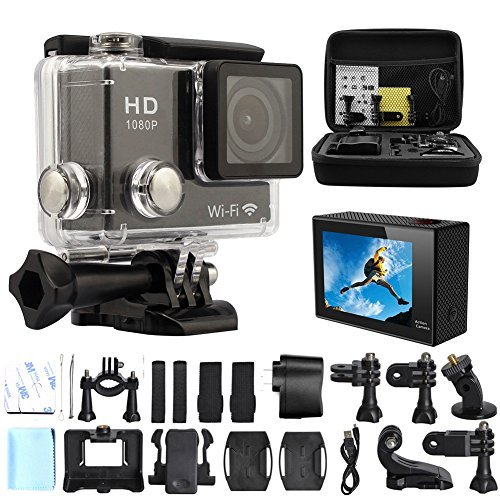 GeekPro 2.0-Inch WIFI HD 1080P 12MP Sports Camera Bundle with Bag, Waterproof Housing and Accessorie