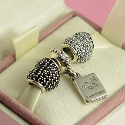 Authentic pandora heart Pandora Clear Pave Lights Charm For Bracelet Rhinestone CZ with Passport set