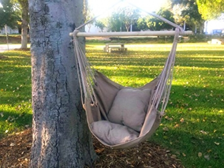 Hammock Chair Hanging Rope Chair Porch Swing Outdoor Chairs Lounge Camp Seat At Patio Lawn Garden Ba