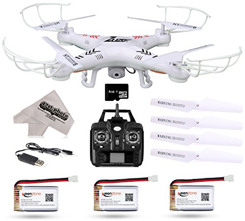 ZuZo 2.4GHz 4 CH 6 Axis Gyro RC Quadcopter UAV Drone with 2MP Camera & Large LED Lights with 3 Addit