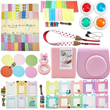 Fujifilm Instax Mini 8 Instant Camera Accessory Bundles Set (Mini 8 Vintage Case Bag/ Hard Cover Sty