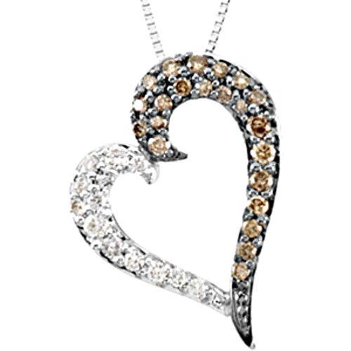 White and Chocolate Diamond Heart 14k White Gold Necklace (GH Color, I1 Clarity, 1/4 Cttw), 18″