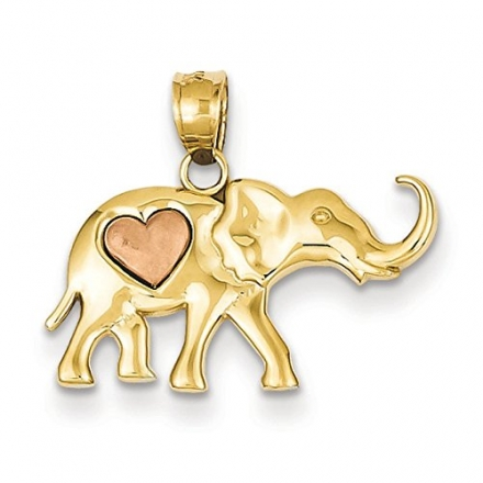 14k Yellow and Rose Gold Elephant With Heart Charm – JewelryWeb