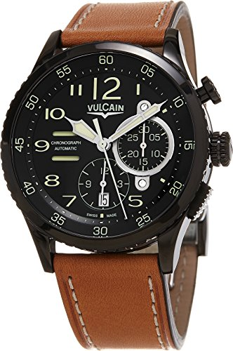 Vulcain Aviator Instrument Chronograph Men's Black DLC Swiss Automatic Watch 590863A07.BFC011