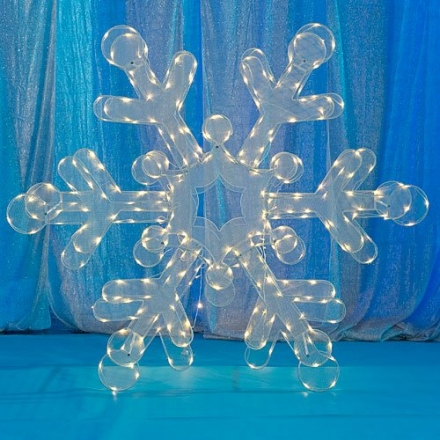 Lighted Large LED Wire Snowflake