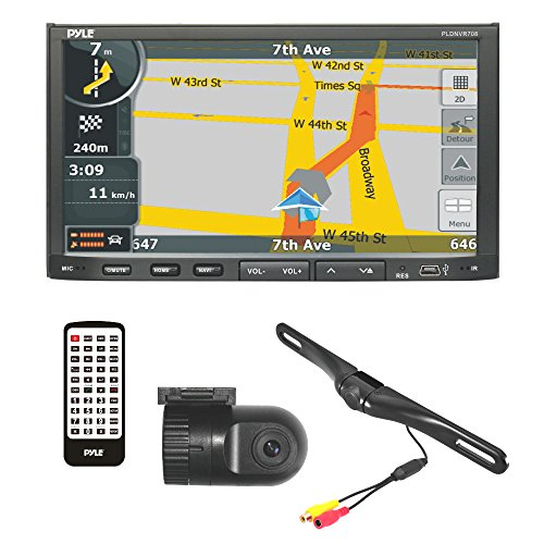 Pyle PLDNVR708 GPS Car Stereo and Dual Camera Kit Includes Touchscreen Headunit Back Up Camera and D